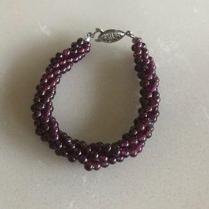 Jewelry - Beautiful Garnet Beads Sterling Silver Bracelet